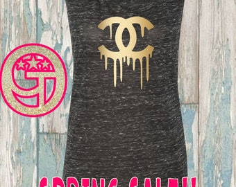 SALE - Small only- Black Marble Chanel Inspired flowy muscle tank. Limited quantities while they last. Dripping chanel