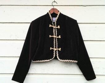 "80's Velvet Waist Jacket/Maroon Valour Jacket/NOW Waist Coat/Maroon Velvet Blazer/Size 14/19""Long/21""Chest/23.5""Sleeve/*FREE Gift Wrap*"