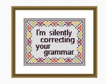 Cross stitch pattern, Modern cross stitch, CORRECTING GRAMMAR cross stitch chart - Instant download PDF
