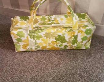 Large Knitting Needle Bag. Yellow Flowers and Green Leaves. Fully lined. With Pocket and Zip Fastening