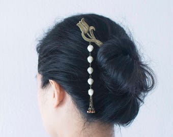 Tulip & Pearl Vintage handmade hair pin, hair stick, hair chopstick, bookmark with unique shape pearl drop