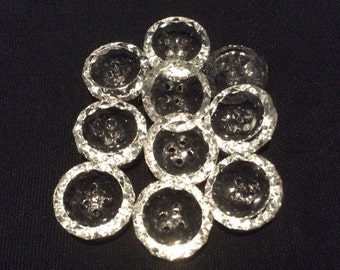 Vintage Faceted Round Clear Glass Buttons, 12 mm or 1/2 inch