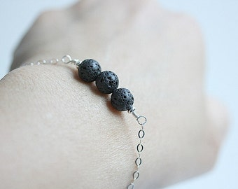 Sterling Silver Lava rock bar bracelet - Black Bracelet - Healing Stone bracelet - Lava rock Jewelry -Lava Stone Bracelet - Gift for her