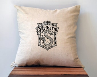Harry Potter Slytherin House Pillow Cover, 18 x 18 Pillow, Harry Potter Pillow, Slytherin Pillow, Slytherin decal, Slytherin patch