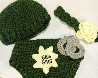 Deputy themed newborn diaper cover and accessories