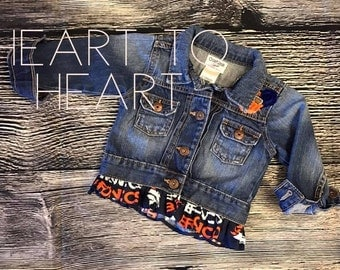 Broncos jean jacket, Denver Broncos, Girls broncos jacket, Toddler broncos jacket, re-purposed jean jacket, United in Orange, boutique coat