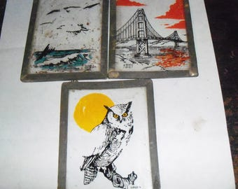 Set Of Three Vintage Hand Painted Ink Sketches on Glass  Signed And Framed Sun Catchers