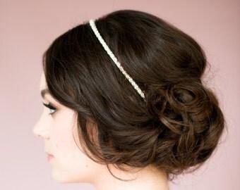 Silver Headband, Pearl Headband, Silver Hairband, Wedding Headband, Rose Gold Headband, Crystal Crown, Pearl Crown, Gold Headband NANCY
