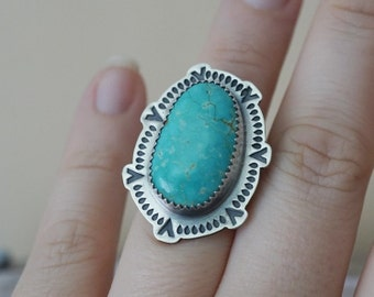 Number 8 Turquoise Ring Size 7 Sterling Silver