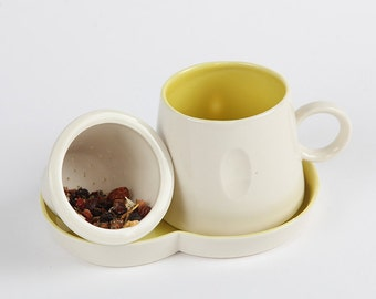 Handmade Porcelain Tea Strainer Set with coloured interior-Individually carved Mug.