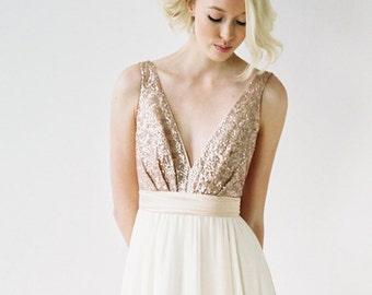 Eden // A rose gold sequined, backless wedding dress