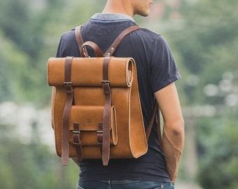 Leather Rucksack, Backpack, Rustic Leather Bag, Handmade Cross-body Bag, Retro Metropolitan Fashion, Men's Leather Bag, Full Grain Leather