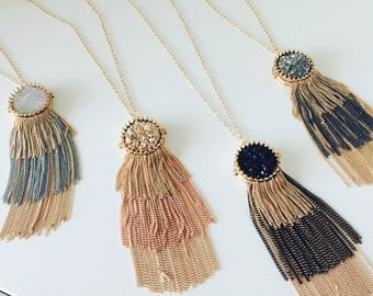 Round Druzy Tassel Necklace, Bohemian Tassel Necklace, Druzy Statement  Necklace