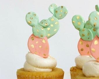 Cactus Sugar Decoration, Cacti Sugar Toppers, Cactus Cupcake Toppers Set of 12