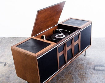 Mid Century Modern Stereo Console Record Player Radio Vintage Danish Airline Magnavox Zenith General Electric Grundig FREE SHIPPING