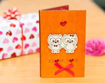 "Wood LOVE card, wood VALENTINES card, wood greeting card, valentines gift, wood, card, love, gift, wooden,  love card ""Owl"" cedr"