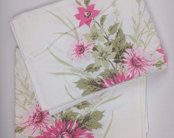 Vintage Set 2 Pillowcases Floral Shabby 60s Retro Sears Bedding Chic Harmony House