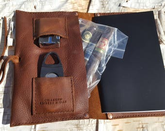 Large Leather Cigar Case w/ Field Notes Book