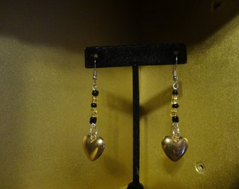 Valentine gold and black earrings