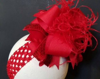 Solid Red Over The Top Boutique Hairbow Ostrich Feather