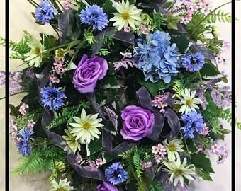 Summer Wreaths For Front Door Wreaths, Summer Wreath, Spring Summer Wreath, Silk Flower Wreath, Floral Wreath Door, Summer Door Wreath Decor