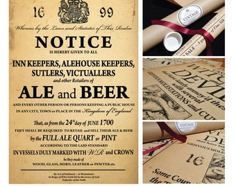 ALE & BEER Notice... Vintage Style Poster in Tube... British Nostalgia... GIFT