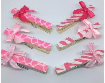 Pink Safari Baby Shower Clothespins