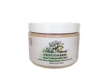 Fenugreek Deep Treatment Hair Mask 12oz- Protein Rich, Volumizing, Natural, Vegan, Organic, Deep Conditioner Fenugreek Mask
