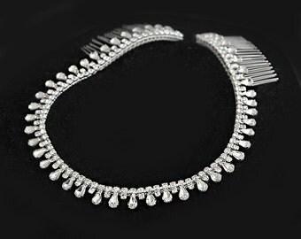 Silver Wedding Headband, Bridal Headpiece, Rhinestone Headband, Hair Tiara, Flower Girl,Hair Jewelry, Bridesmaid, Hair Accessory-HA029