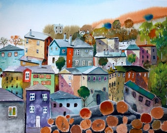 Mountain village original watercolor (12'' x 18'') / (32 x 47 cm)