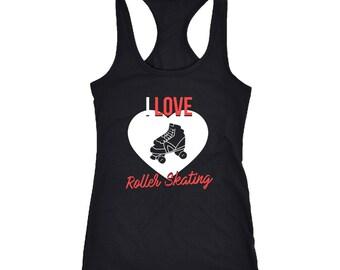 Roller skating Racerback Tank Top T-Shirt. Funny Roller skating Tank.
