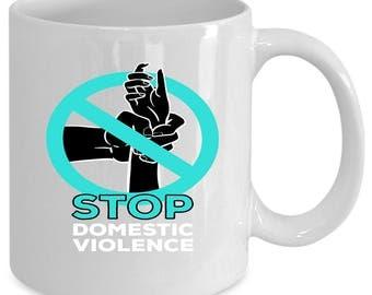 Domestic violence white coffee mug. Funny Domestic violence gift