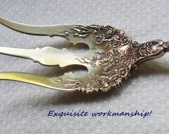 Expertly Chased 1897 Durgin Dauphin Sterling Silver Serving Fork, Daniel Low & Co, Long Embossed Antique Lettuce Fork, Pretty Floral Motif