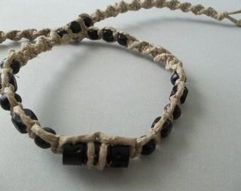 """XXL 23"""" HEMP NECKLACE Black Wood Beads - Big Man Sized Woven Hippie Jewelry"""