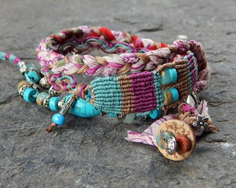 Bracelet turquoise and purple wrap
