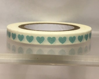 Slim white with teal hearts washi tape