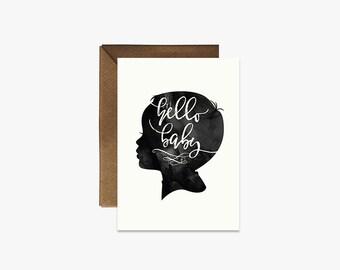 Hello baby Card + Kraft Envelopes Silhouette Card --- S006