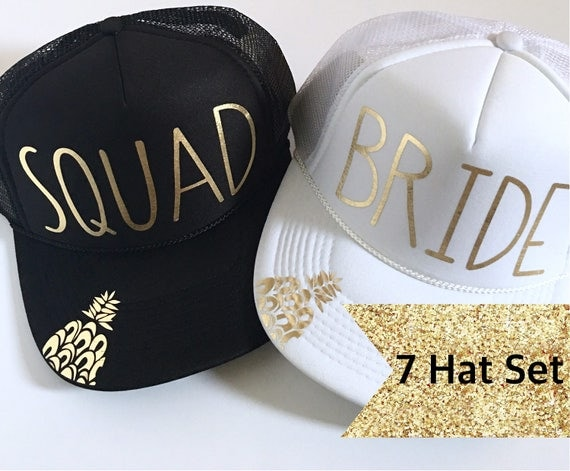 7 Bride Squad Hat SET| Bride Hats| Bachelorette Hats| 1 White Bride, 6Black Squad Hats-with Gold Vinyl lettering