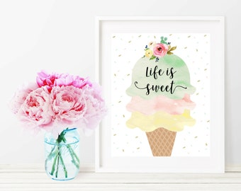 Ice Cream Printable Nursery Wall Decor, Life is Sweet Typography 8x10 Nursery Wall Art Print, Baby Girl Watercolor Pink Mint Green Sprinkle
