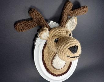 Mario-vegan-crochet amigurumi frame taxidermy deer