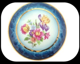 Vintage Signed PM2 Trinket Pill Box Floral Design