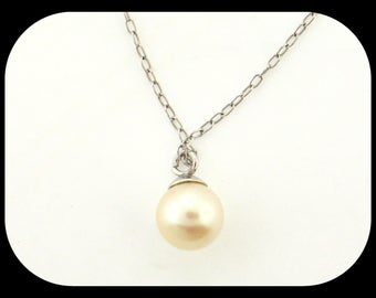 14K Solid White Gold Chain NECKLACE with 7MM White Pearl 1.13GR