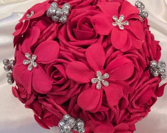 Red wedding bouquet, red silver wedding, red and silver bouquet, red quinceañera bouquet, brooch bouquet, ready to ship