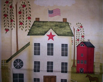1 panel The Way Home Jennifer Pugh Wilmington prints cotton fabric Saltbox house willow trees cow pig sheep Welcome Family Friends