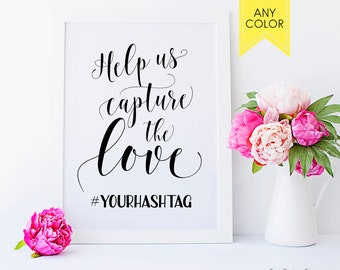 Wedding hashtag sign Help us capture the love Custom hashtag signs Hashtag wedding sign hash tags Simple wedding signs Social media sign