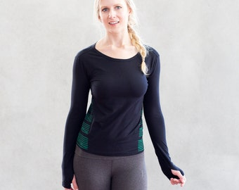 Organic cotton,Black Top, Workout top, Long sleeve top, YOGA top, Organic clothing,  Exercise apparel, Gym Top, Shape up round neck top