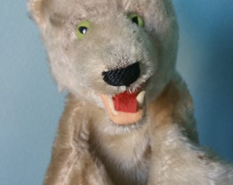 STEIFF hand puppet WOLF! Vintage plush collectible hand puppet wolf late 1950s early 1960s