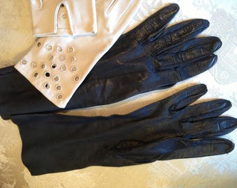 2 pairs 60's gloves. Leather dents 6 and half. Fabric same size. Boyh good condition