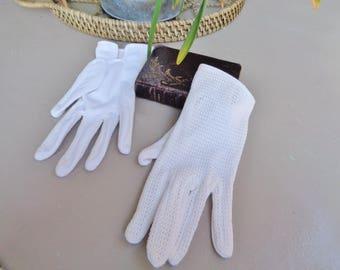 French Vintage  white gloves, wedding gloves,ceremony gloves,Cotton crocheted gloves