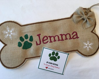 Dog stocking, Dog Bone Stocking,personalized stocking,custom name, Burlap Pet Stocking, Christmas stocking for dog, Paw Print,black trim